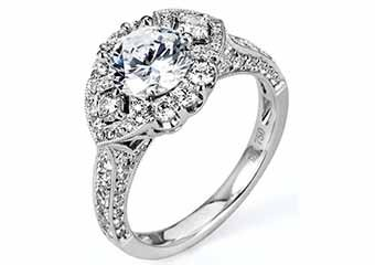 WOMENS DIAMOND ENGAGEMENT HALO RING ROUND CUT 1.87 CARAT 18K WHITE GOLD