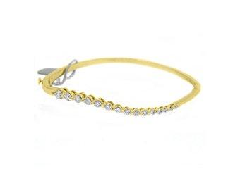 WOMENS DIAMOND BANGLE JOURNEY TENNIS BRACELET 1 CARAT ROUND CUT 14KT YELLOW GOLD