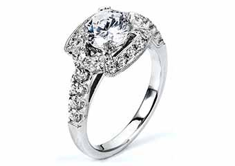 WOMENS DIAMOND ENGAGEMENT HALO RING ROUND CUT 1.84 CARAT 18K WHITE GOLD