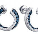 .75 CARAT BRILLIANT ROUND CUT BLUE DIAMOND HOOP EARRINGS WHITE GOLD