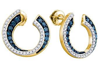 .75 CARAT BRILLIANT ROUND CUT BLUE DIAMOND HOOP EARRINGS YELLOW GOLD