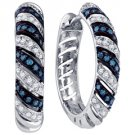 .50 CARAT BRILLIANT ROUND CUT BLUE DIAMOND HOOP EARRINGS WHITE GOLD