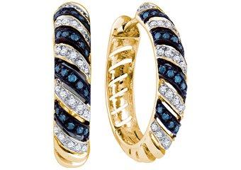 .50 CARAT BRILLIANT ROUND CUT BLUE DIAMOND HOOP EARRINGS YELLOW GOLD