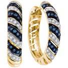 .50 CARAT BRILLIANT ROUND CUT BLUE DIAMOND HOOP EARRINGS YELLOW GOLD