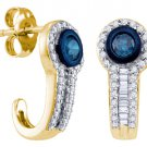 .65 CARAT BRILLIANT ROUND BAGUETTE CUT BLUE DIAMOND HOOP EARRINGS YELLOW GOLD