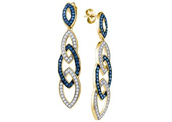 1.4 CARAT BRILLIANT ROUND CUT BLUE DIAMOND DANGLE EARRINGS YELLOW GOLD