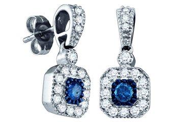 .66 CARAT SQUARE SHAPE BLUE DIAMOND DANGLE HALO EARRINGS WHITE GOLD