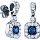 .66 CARAT SQUARE SHAPE BLUE DIAMOND DANGLE HALO EARRINGS WHITE GOLD