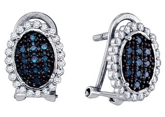.34 CARAT BRILLIANT ROUND CUT BLUE DIAMOND DANGLE HALO EARRINGS WHITE GOLD