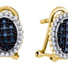 .34 CARAT BRILLIANT ROUND CUT BLUE DIAMOND DANGLE HALO EARRINGS YELLOW GOLD