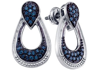 .68 CARAT BRILLIANT ROUND CUT BLUE DIAMOND DANGLE EARRINGS SILVER WHITE RHODIUM