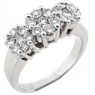 1.2 CARAT WOMENS PAST PRESENT FUTURE DIAMOND RING  ROUND CUT CLUSTER WHITE GOLD