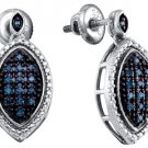 .27 CARAT MARQUISE SHAPE BLUE DIAMOND DANGLE EARRINGS SILVER WHITE RHODIUM