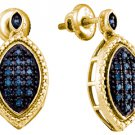 .27 CARAT MARQUISE SHAPE BLUE DIAMOND DANGLE EARRINGS SILVER YELLOW RHODIUM