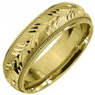MENS WEDDING BAND ENGAGEMENT RING 14KT YELLOW GOLD SATIN FINISH 6mm