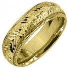 MENS WEDDING BAND ENGAGEMENT RING 14KT YELLOW GOLD SATIN FINISH 6mm