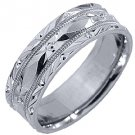 MENS WEDDING BAND ENGAGEMENT RING 14KT WHITE GOLD HIGH GLOSS 6mm