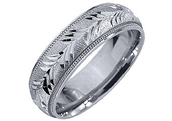 MENS WEDDING BAND ENGAGEMENT RING 14KT WHITE GOLD SATIN FINISH 6mm