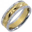 MENS WEDDING BAND ENGAGEMENT RING 14KT YELLOW WHITE TWO TONE GOLD 6mm