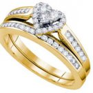 HEART SHAPE DIAMOND ENGAGEMENT PROMISE HALO RING WEDDING BAND BRIDAL SET GOLD