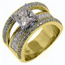3.7 CARAT WOMENS DIAMOND ENGAGEMENT WEDDING RING PRINCESS SQUARE CUT YELLOW GOLD