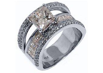 3.7 CARAT WOMENS DIAMOND ENGAGEMENT WEDDING RING PRINCESS SQUARE CUT WHITE GOLD