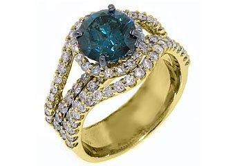 3.7 CARAT WOMENS BLUE DIAMOND ENGAGEMENT WEDDING HALO RING ROUND CUT YELLOW GOLD