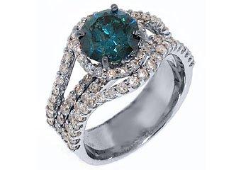 3.7 CARAT WOMENS BLUE DIAMOND ENGAGEMENT WEDDING HALO RING ROUND CUT WHITE GOLD