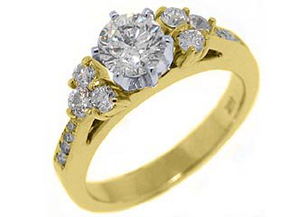 1.5 CARAT WOMENS DIAMOND ENGAGEMENT WEDDING RING BRILLIANT ROUND CUT YELLOW GOLD