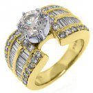 2.75 CARAT WOMENS DIAMOND ENGAGEMENT WEDDING RING ROUND BAGUETTE CUT YELLOW GOLD