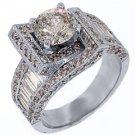 3.64 CARAT WOMENS DIAMOND ENGAGEMENT WEDDING RING ROUND BAGUETTE CUT WHITE GOLD