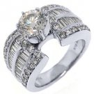 2.75 CARAT WOMENS DIAMOND ENGAGEMENT WEDDING RING ROUND BAGUETTE CUT WHITE GOLD
