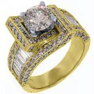 3.64 CARAT WOMENS DIAMOND ENGAGEMENT WEDDING RING ROUND BAGUETTE CUT YELLOW GOLD