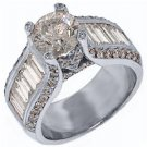 4.73 CARAT WOMENS DIAMOND ENGAGEMENT WEDDING RING ROUND BAGUETTE CUT WHITE GOLD