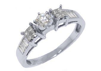 1/2 CARAT WOMENS DIAMOND ENGAGEMENT WEDDING RING ROUND PRINCESS CUT WHITE GOLD