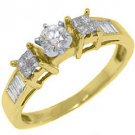 1/2 CARAT WOMENS DIAMOND ENGAGEMENT WEDDING RING ROUND PRINCESS CUT YELLOW GOLD