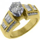 1.9 CARAT WOMENS DIAMOND ENGAGEMENT WEDDING RING ROUND BAGUETTE CUT YELLOW GOLD