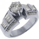 1.9 CARAT WOMENS DIAMOND ENGAGEMENT WEDDING RING ROUND BAGUETTE CUT WHITE GOLD