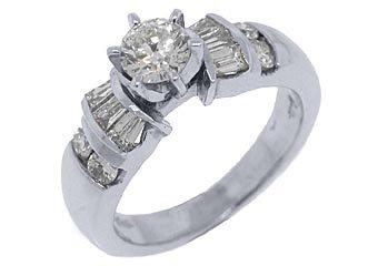 1.14 CARAT WOMENS DIAMOND ENGAGEMENT WEDDING RING ROUND BAGUETTE CUT WHITE GOLD