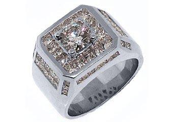 MENS 4.63 CARAT SOLITAIRE ROUND PRINCESS SQUARE CUT DIAMOND RING WHITE GOLD