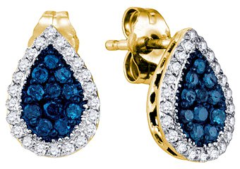 .53 CARAT BRILLIANT ROUND BLUE DIAMOND HALO EARRINGS PEAR SHAPE YELLOW GOLD