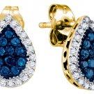 .53 CARAT BRILLIANT ROUND BLUE DIAMOND HALO EARRINGS PEAR SHAPE YELLOW GOLD