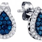 .53 CARAT BRILLIANT ROUND BLUE DIAMOND HALO EARRINGS PEAR SHAPE WHITE GOLD