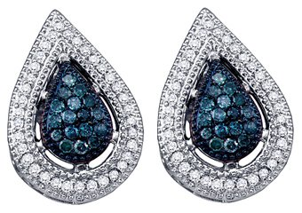 .40 CARAT TEAR DROP PEAR SHAPE BLUE DIAMOND STUD HALO EARRINGS WHITE GOLD