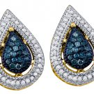 .40 CARAT TEAR DROP PEAR SHAPE BLUE DIAMOND STUD EARRINGS YELLOW GOLD