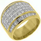 3.8CT WOMENS PRINCESS BAGUETTE INVISIBLE DIAMOND RING WEDDING BAND YELLOW GOLD