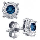 .10 CARAT BRILLIANT ROUND BLUE DIAMOND STUD EARRINGS 925 SILVER WHITE