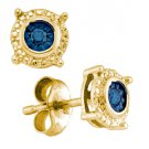 .10 CARAT BRILLIANT ROUND BLUE DIAMOND STUD HALO EARRINGS 925 SILVER YELLOW
