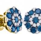 1.5 CARAT BRILLIANT ROUND CUT BLUE DIAMOND STUD EARRINGS YELLOW GOLD