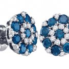 1.5 CARAT BRILLIANT ROUND CUT BLUE DIAMOND STUD EARRINGS WHITE GOLD